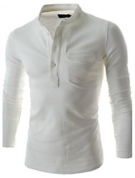 Men's Long Sleeve T-Shirt , Cotton/Polyester Casual Pure