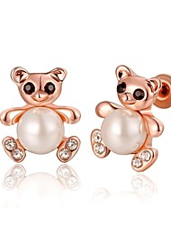 Fashion Lovely Bear Rose Gold Rose Gold-Plated Stud Earrings (Rose Gold)(1Pair)