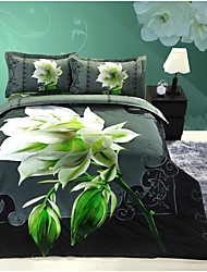 Four Piece 3D Canvas Flower Print Duvet Set