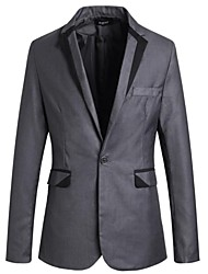 Men's Lapel Contrast Color Piping One Button Long Sleeve Casual Blazer