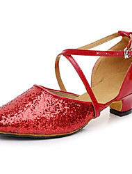 Latin Women's Sandals Chunky Heel Leather Glitter Buckle Dance Shoes(More Colors)