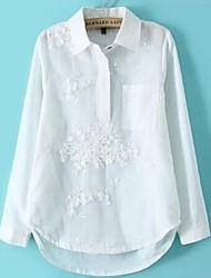 camisas de manga de las mujeres del bordado conjuntos largos