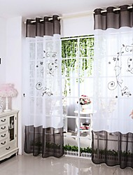 Fashion Morden Plant Embroidered Good Quality Sheer Window Curtains For Living Room Bedroom  2PCS