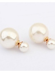 European Fashion Double Pearls Stud Earrings