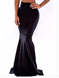 faldas largas delgada sexy princesa cola de pez negro grande del oscilación de la mujer