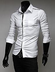 nova camisa de manga longa magro dos homens