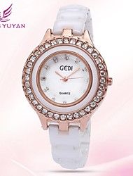 GEDI® Luxury Brand Women Watches Fashion White Ceramic Rhinestone Rose Gold Quartz Watches Women(Assorted Colors) Cool Watches Unique Watches
