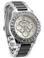 signore della donna tondo quadrante bianco acqua cinturino nero in ceramica quarzo resistente orologio fw830k
