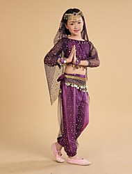Belly Dance Kid's Coins Tassel Performance Outfit Including Top/Bottom/Bracelet/Waist Chain/Veil/Headpieces(More Colors) Kids Dance Costumes