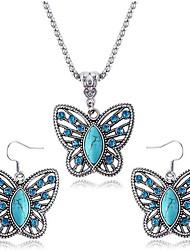 collana orecchini farfalla zaffiro set