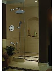 montado en la pared dos manijas de cromo pulido conjunto grifo de la ducha termostática (71422001)