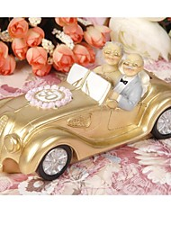 Cake Topper Non-personalized Classic Couple Resin Anniversary Flowers Pink Garden Theme Gift Box