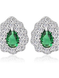 Chic Unique Princess Cut CZ Cluster Stones Earrings White Ruby Emerald Blue Rhinestones CZ Earrings (More Colors)