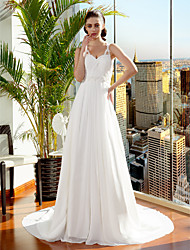 Lanting Bride® A-line / Princess Petite / Plus Sizes Wedding Dress Court Train Spaghetti Straps Chiffon with