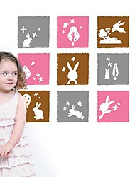 Wall Stickers Wall Decals,  Modern The tree with the rabbit cartoon art portfolio PVC Wall Stickers