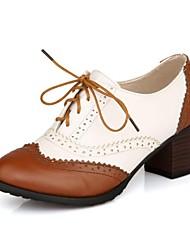 zapatos de las mujeres del dedo del pie redondo oxfords tacón grueso con zapatos de cordones más colores disponibles