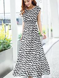 Women's Print/Striped Black/Orange Dress , Casual Round Neck Sleeveless