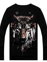 tempy Männer 3d schwarzen Lycra gedruckten Langarm-T-Shirt