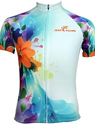 JESOCYCLING Maillot de Cyclisme Femme Manches Courtes Vélo Maillot Hauts/Tops Séchage rapide Respirable Anti-transpiration Polyester