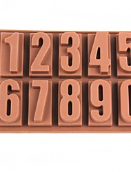 10 compartimento 0 ~ 9 numeradas silicone molde estrutura gelo - marrom