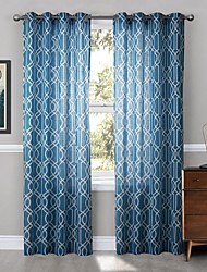 Modern One Panel Geometric Blue Living Room Polyester Panel Curtains Drapes