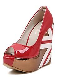 Scarpe Donna - Scarpe col tacco - Formale / Serata e festa - Tacchi / Aperta - Zeppa - Finto camoscio - Nero / Rosso