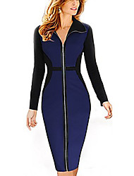 Belt Women's Contrast Color Dress