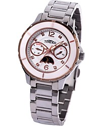 TIME100 Women Ceramic-frame Sun&Moon Phase Round Dial Multifunctional Ladies' Quartz Bracelet Watch (Assorted Colors)