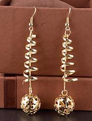 moda feminina escavar bola brincos de liga de queda (de ouro, prata) (1 par)