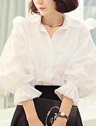 Women's Solid White Shirt , Shirt Collar Long Sleeve Ruched