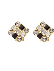 Woman's  Luxury Fashion Black and white Rhinestone Crystals Square Stud Earrings