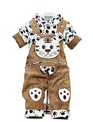 Boy's Baby Hoodies Cotton Winter Footprint Tiger Bib Pants Suit