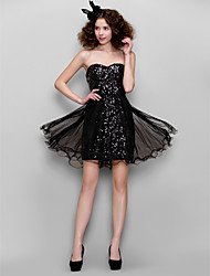 Dress - Black Sheath/Column Sweetheart Short/Mini Sequined