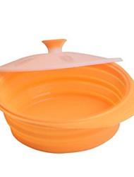bol dépliable avec couvercle pour la cuisson ou camping en plein air, un matériau en silicone sécurité alimentaire, couleur aléatoire