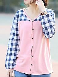 Jansa ™ женские релаксации клеток хлопка монтаж длинный рукав круглый воротник рубашки