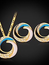 Fancy Floating Enamel Pendant Necklace Earrings Set 18K  Gold Platinum Plated Rhinestone for Women  High Quality