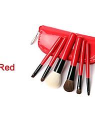 6Pcs High Quality Bright Red Professional Natural Makeup Brush Set