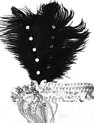 Stylish Bright Black  Sequin Feather Flapper Carnival Headbands