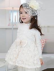 manga longa de algodão puro vestidos tarja Falbala da menina