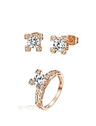 Bridal Jewelry Set 18K Rose Gold Plated CZ Diamond Certified Eiffel Tower Earrings Ring Engagement