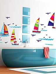 parede adesivos de parede decalques, de forma colorida pvc veleiro adesivos de parede