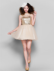 Cocktail Party Dress - Champagne Plus Sizes / Petite Ball Gown Jewel Short/Mini Tulle / Sequined