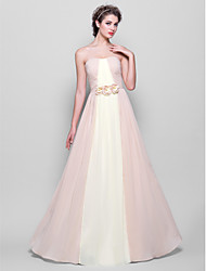 Lanting Bride® Floor-length Chiffon Bridesmaid Dress - A-line Strapless Plus Size / Petite withDraping / Flower(s) / Sash / Ribbon / Side