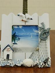 estilo mediterrâneo photo frame de madeira-conjunto de 2