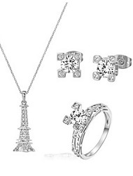 18K Silver Plated CZ Diamond Certified Eiffel Tower Necklace Earring Rings Engagement Bridal Jewelry Set