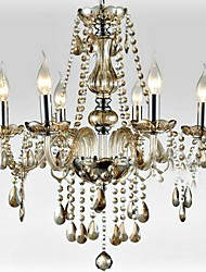 6-light The style of palace Glass Chandelier With Candle Bulb