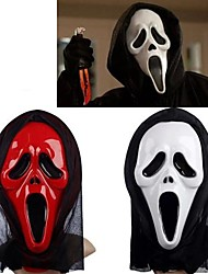 White&Red Ghost Mask with Head Cover Scream Practical Joke Scary Cosplay Gadgets Halloween Costume Party(Assorted Color)