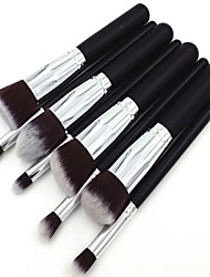 8pcs Silver Tube Black Handle Cosmetic Makeup Brush Set