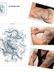 1 Pcs Waterproof  Black Dragon Picture  Pattern  Tattoo Stickers