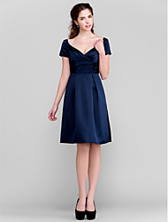 Lanting Bride® Knee-length Satin Bridesmaid Dress - A-line V-neck Plus Size / Petite with Sash / Ribbon / Criss Cross / Ruching